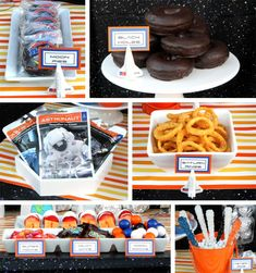 Outer Space Birthday Party - - Only the bold yearn to venture into the unknown of the next frontier and we're here to support the next generation of stargazers and space explorers. Inspire that next level wanderlust and cu…. Outer Space Party, Outer Space Theme, Moon Party, Party Party, Party Food Themes, Party Ideas, Space Baby Shower, Astronaut Party, Space Food