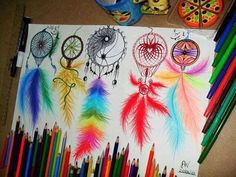 colorful dream catcher drawing - Google Search