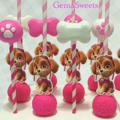 Paw Patrol Skye cake pops by Gema Sweets.