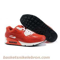Air Max Homme Nike Air Max 90 Rouge Blanc en cuir python Vente