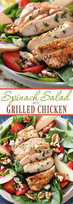 Grilled Chicken Strawberry Spinach Salad | This strawberry spinach salad is full…