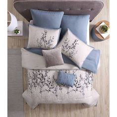 Blue & Taupe Embroidered Hexton Comforter Set (King) 8pc : Target Queen Size Comforter Sets, Bedroom Comforter Sets, Blue Comforter Sets, Corner Twin Beds, Farmhouse Bedding Sets, Embroidered Leaves, Decorate Your Room, 1 Piece, Comforters