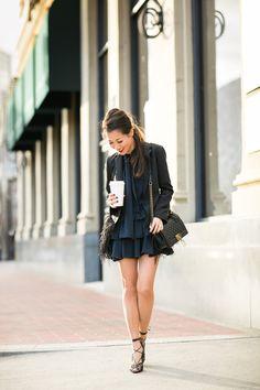 Blazer :: Tibi  Dress :: Miu Miu   Shoes :: Aquazzura  Bag :: Chanel   Accessories :: Jennifer Zeuner rings, Stila 'Beso' lip color, Deborah Lippmann 'Single ladies' polish.