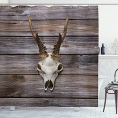 Rustic Antlers on Wood Shower Curtain – joocarhome Rustic Shower Curtains, Curtain Store, Square Tables, Table Covers, Table Linens, Antlers, Your Pet, Vibrant Colors, Moose Art