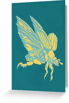 Christmas Beetle Flying Christmas card by Richard Morden. Stencil art style. Designed as a Christmas Card. The Christmas Beetle, Anoplognathus pallidicollis, can appear in large numbers approaching the Christmas holiday season in Australia. They are large beetles, often appearing shiny gold or metallic green.
