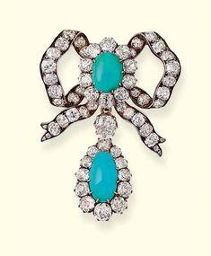 AN ANTIQUE TURQUOISE AND DIAMOND BOW BROOCH. The old-cut diamond ribbon with turquoise and diamond cluster centre, suspending a similar detachable drop-shaped pendant, with pendant fitting, mounted in silver and gold, circa Victorian Jewelry, Antique Jewelry, Vintage Jewelry, Vintage Brooches, Diamond Bows, Diamond Brooch, Bow Jewelry, Fine Jewelry, Jewellery