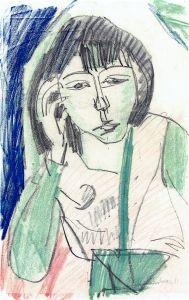 Erna von Vorne, Half Length Portrait - Ernst Ludwig Kirchner - The Athenaeum