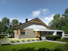 Daniel is a house designed for a family who appreciates the noble elegance, modern comfort and convenient connections and. Modern Architecture House, Modern House Design, Single Storey House Plans, Modern House Floor Plans, 2 Bedroom House Plans, Farm Plans, Facade House, Design Case, Cottage Homes