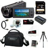 Sony HDR-CX290 8GB Embedded Memory HD Handycam Camcorder with 27x Optical/ 50x Extended Zoom and 2.7-inch LCD Screen in Black + Sony 16GB SDHC + Replacement NP-FV50 Battery + Micro HDMI Cable + Sony Carrying Case + Accessory Kit