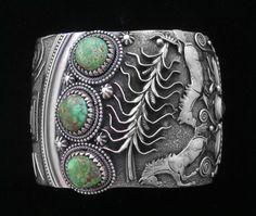 Cuff Bracelet, Larry Martinez Chavez, Navajo, Sterling, Carico Lake Turquoise