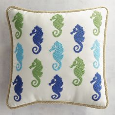 Pier 1 Imports Embroidered Seahorse Scatter Pillow ($26) ❤ liked on Polyvore featuring home, home decor, throw pillows, embroidered throw pillows, seahorse home decor, colored throw pillows, embroidered accent pillow and patio throw pillows