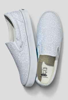 """@vans Vault x Takashi Murakami silver-on-white """"Flowers"""" slip-on. Sadly, only sold in-store."""