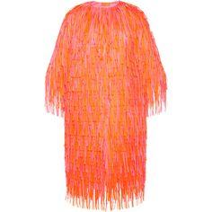 Paskal     Fringe Midi Coat (47 905 UAH) ❤ liked on Polyvore featuring outerwear, coats, orange, calf length coat, red coat, fringe coat and orange coat