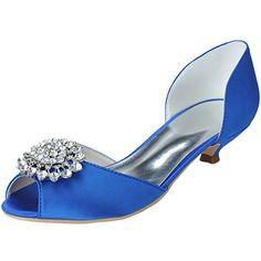 LOSLANDIFEN Women s Open Toe Rhinestones Flower Satin Low Heels Wedding  Bridal Shoes£¨0700- 2426903203e6
