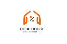 Code House Logo Design - Brannet Market Professional Logo Design, Home Logo, Orange Color, Coding, Letters, Marketing, Logos, House, Home