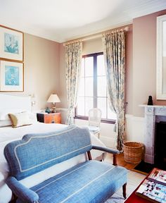 Classic and traditional bedroom with pops of blue