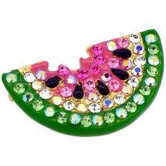 Pink Watermelon pin Swarovski Crystal Fruit Pin Brooch