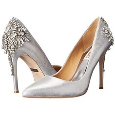 """GLAMOROUS Badgley Mischka Poetry Crystal Pump 8 The Poetry pumps by Badgley Mischka add shine to your night in all the right ways. Leather upper Pointed closed-toe pumps 3-3/4"""" heel Leather sole Retail: $295 Badgley Mischka Shoes Heels"""