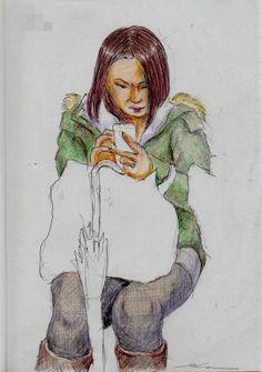 アーミー風コートのお姉さんIt is a sketch of the woman wearing the army-style coat.  I drew on the train going to work.