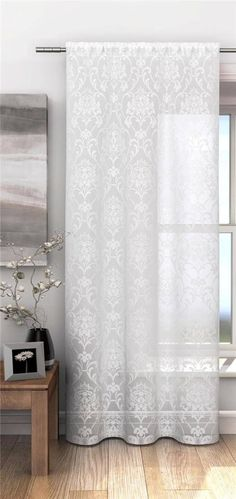 Cream Sheer Voile Curtain Net Panel With Floral Damask Pattern Width x Drop Voile Panels, Voile Curtains, Baby Bedroom, Bedroom Decor, Bedroom Ideas, Damask Party, Window Dressings, House Design, Interior Design