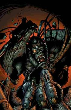 He's part-man, part-gorilla meshed together with cybernetics to create a dangerous killing machine. His real name is Michael Konieczni. Spawn Characters, Image Comics Characters, Comic Character, Game Character, Goddess Of Destruction, Comic Art, Comic Books, Silverback Gorilla, Monkey Art