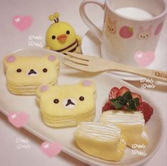 Check out these uber kawaii Rilakkuma photos! Have you ever seen such cute and delectable food? Desserts Japonais, Cute Food, Yummy Food, Kawaii Cooking, Kawaii Dessert, Kawaii Bento, Bento Recipes, Japanese Sweets, Japanese Food