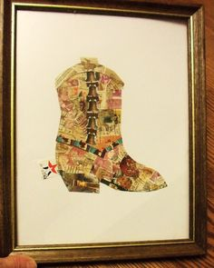 really cool postage stamp collage: cowboy boot. $18.00, via Etsy.