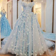 Perfect Sweetheart Off the Shoulder wedding dresss unique blue short sleeve backless Appliques cheap wedding dresses