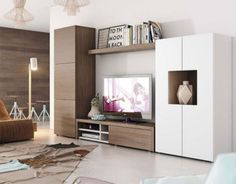 Contemporary wall storage system with cabinet, tv unit and tall cabinet Living Room Wall Units, Living Room Storage, Home Living Room, Living Room Designs, Living Room Decor, Wall Storage Systems, Modern Tv Wall Units, Muebles Living, Tv Wall Decor