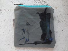 Canvas  Cat Coin Purse Hand Painted Unique Canvas Pouch by koatye1