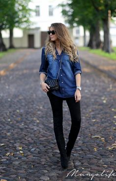 Acne black jeans with denim blue shirt from Gina Tricot, black over the knee boots from Topshop, Rayban sunglasses, Chanel WOC
