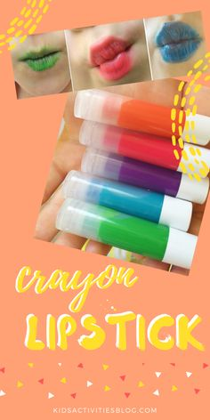 Make brightly colored lipstick using crayons and supplies from home! This craft would make a great DIY gift, slumber party activity, or just a fun way to spend some time with your daughter!