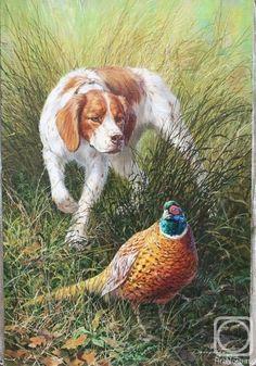 Hunting Painting, Hunting Art, Hunting Dogs, Wildlife Paintings, Wildlife Art, Animal Paintings, Hunting Drawings, Dog Line Drawing, Hunter Dog