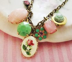 Vintage Pink & Green Rose Cameo Cabochon Rhinestone Set Locket Charm Destash