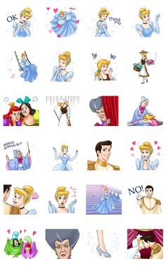 Animated stickers featuring characters from the classic animated film. From fairy godmothers and glass slippers to the hilariously sinister faces of Cinderella's stepfamily, this collection has everything you need to relive the magic!