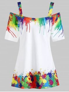 Tie dye pattern is a hot trend in spring summer Buy this Plus size tie dye xold shoulder top it features spaghetti straps. Best for high street fashion look High Street Fashion, Chiffon Evening Dresses, Winter Fashion Casual, Cold Shoulder Blouse, Shoulder Bags, Plus Size T Shirts, Fashion Seasons, Women's Fashion Dresses, Plus Size Women