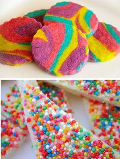 Rainbow tie-dyed cookies and rainbow sprinkle bark candy