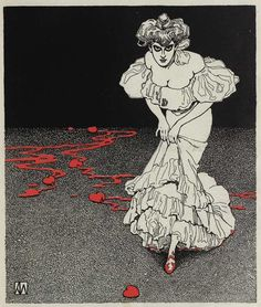 Une illustration signée Tin Can Forest. Karl Alexander Wilke. Jenny Lens: whoa, way cool. Love the blood and look in her eyes and the red hearts and shoes. Wonder what it means, @Raquel ~~~. Hmm ....