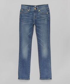Loving this Bright Red Cast Blue Straight-Leg Jeans - Girls on #zulily! #zulilyfinds