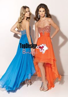 Wholesale free shipping vestido de festa beading empire high-low chiffon orange prom dress 91074