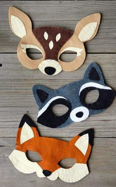 fabric crafts for kids to make Filz Waldmasken - Baby deko - Filz Waldmasken - Kids Crafts, Diy And Crafts, Craft Projects, Sewing Projects, Baby Crafts, Felt Projects, Wooden Crafts, Recycled Crafts, Craft Ideas