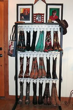 This boot racks holds pairs of cowboy boots.I want the boot rack AND the boots too! Cowgirl Chic, Cowgirl Boots, Boot Storage, Storage Rack, Horse Barns, Horse Tack, Horses, Boot Rack, Western Decor