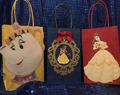 Beauty and the Beast favor bag, party bags, Belle birthday party, princess party, disney princess celebration