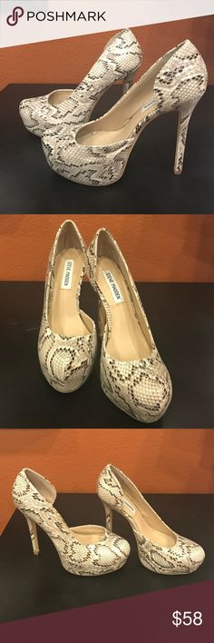 Steve Madden Pumps Size 8 Steve Madden pumps, really cute snake skin pattern! I wore them once to a wedding, so they are a bit worn on the bottom, but other than than that they're brand new! They do run a bit large, which is why I'm selling. Steve Madden Shoes Heels