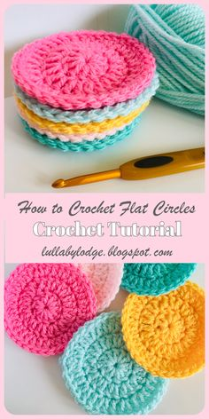 Learn how to crochet circles that lie flat every time, with this easy step by step guide by Lullaby Lodge. This tutorial instructs you how to make your circles with 3 different stitches. This tutorial is suitable for beginners w Scrubbies Crochet Pattern, Crochet Circle Pattern, Crochet Circles, Crochet Patterns For Beginners, Easy Crochet Patterns, Crochet Tutorials, Doily Patterns, Crochet Flats, Different Stitches