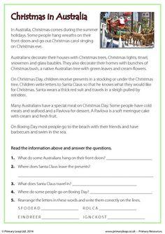 PrimaryLeap.co.uk - Reading comprehension - Christmas in Australia Worksheet