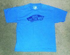 "Youth Boys Black, Blue VANS ""OFF THE WALL"" Logo Short Sleeve Shirt, Size XL, GUC #VANSOfftheWall #Everyday"