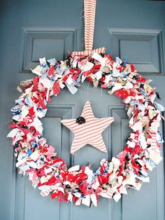 All American Rag Wreath with a Cute Little Star! (Two Shades of Pink)