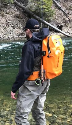 This photo shows a waterproof fishing backpack being worn by a fisherman near a river. This photo shows a waterproof fishing backpack being worn by a fisherman near a river. Fishing Backpack, Fly Fishing Gear, Fishing Girls, Fishing Life, Best Fishing, Fishing Boats, Fishing Apparel, Ski, Fishing In Canada