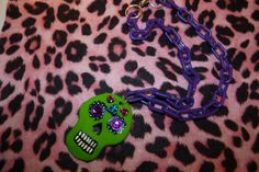 Day of the dead sugar skull necklace.